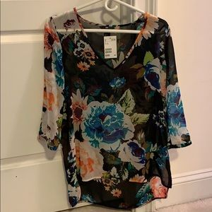 H&M sheer floral top NWT